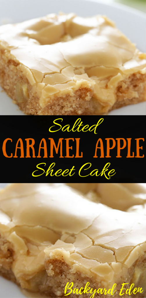 Fall apple recipes, best fall apple recipes, easy fall apple recipes, fall apple recipes easy, Salted Caramel Apple Sheet Cake Recipe, caramel apple, salted caramel, Recipes, Backyard Eden, www.backyard-eden, www.backyard-eden.com/salted-caramel-apple-sheet-cake-recipe